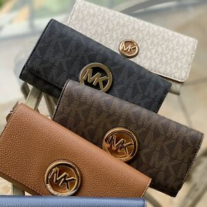 Michael-Kors-Medium-Large-Card-ID-Holder-Wallet-Leather-Black-Brown-Gold-Silver