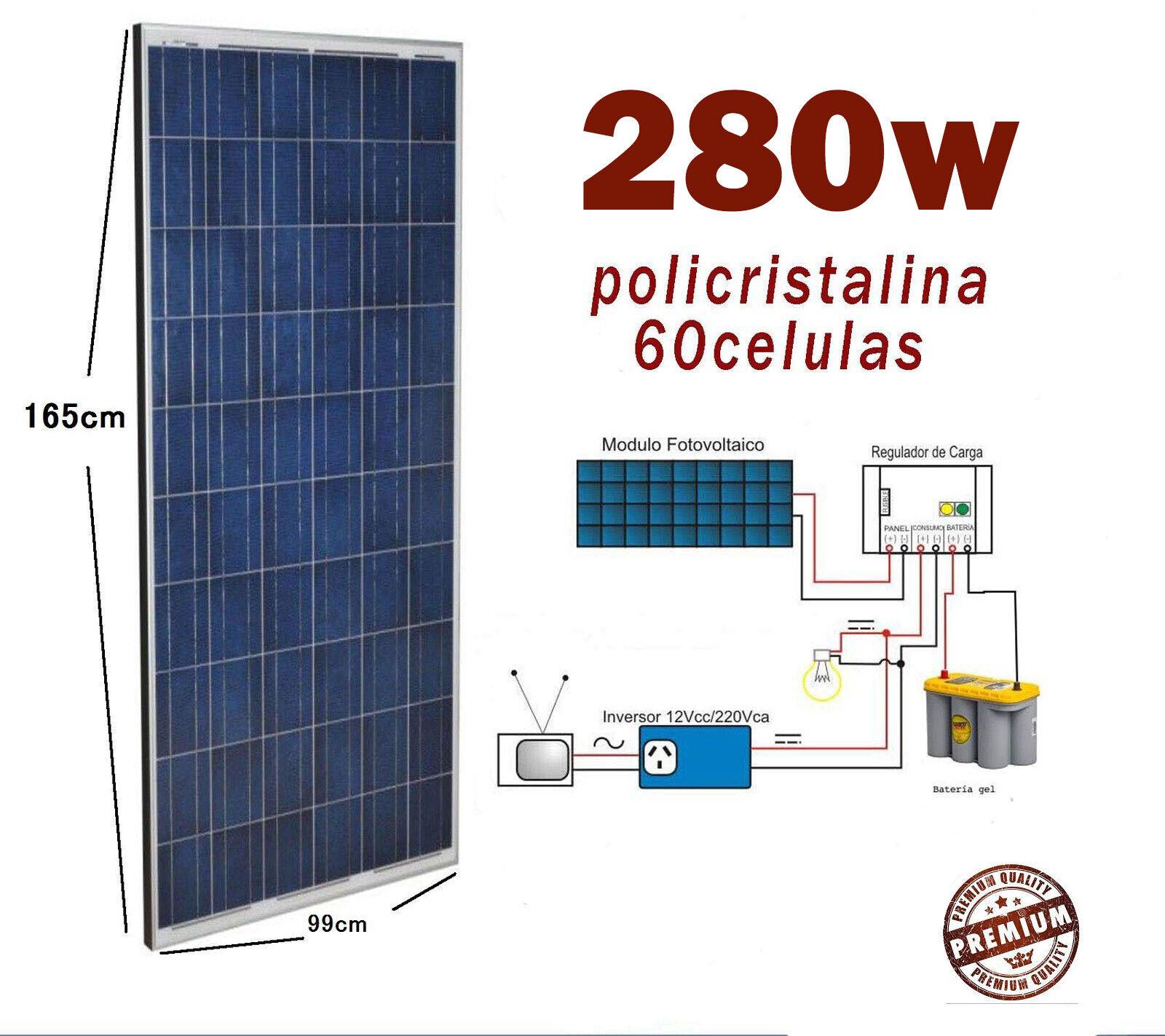 Placa solar 280w panel modulo fotovoltaico Policristalino 12V 24V 48V