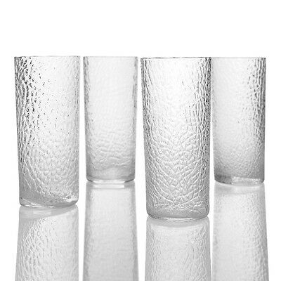 Kastrup Holmegaard - 4x Tall Crackle-Textured Tumblers - 1960s Danish Glass