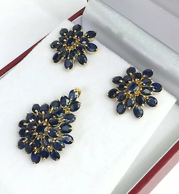 14k Solid Yellow Gold Flower Stud Earrings Natural Sapphire 2.22 Grams