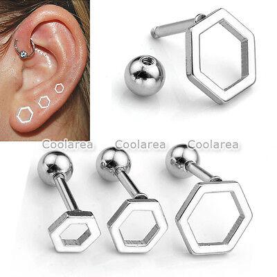 "2-6pc 16G Steel Hexagon Hoop Ear Helix Cartilage Stud 1/4"" Bars Earring Piercing"