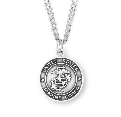 Sterling Silver St Michael Medal Protection Charm US Marine Corps Reversible Pendant Necklace