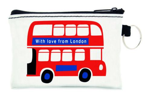 British Londra Rossa DOUBLE DECKER BUS design da viaggio piccola Scheda Portamonete Borsetta con zip