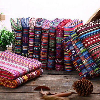 1 Meter Stripe Tribal Ethnic Cotton Fabric for Upholstery Curtain Sheet Cloth OP