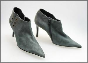 ECLIPSE-LUXE-WOMEN-039-S-ANKLE-HIGH-GREY-ZIP-UP-SUEDE-HEELS-BOOTS-SIZE-7-AUST-38-EUR