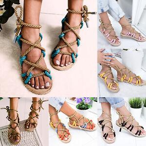 Women-039-s-Sandal-Boho-Flat-Open-Toe-Casual-Ladies-Ankle-Strap-Shoes-Summer-Beach