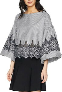 NEW-BCBG-MAXAZRIA-PUFF-SLEEVE-EMBROIDERED-COTTON-TOP-AFS12A67-S678W-SIZE-L