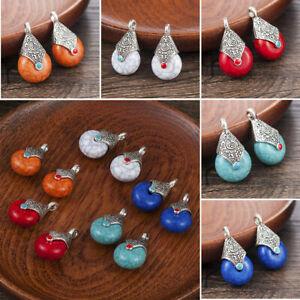 2Pcs-Natural-Gemstones-Fire-Agate-Teardrop-Drop-Healing-Pendant-Beads-Jewelry