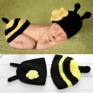 3c5e2c20e56f7 Details about Bee Newborn Infant Baby Photography Photo Props Crochet Knit  Costume Hat Outfits