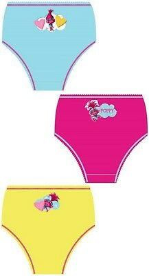 Girls Kids New Trolls Pants Underwear Briefs Knickers Set 2-8 Years 3 Pack Gift