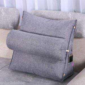 Adjustable-Cotton-Linen-Wedge-Cushion-Pillow-Back-Support-Smoky-Gray