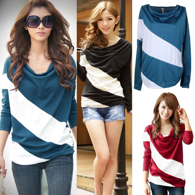 Fashion Women Striped Batwing Loose Blouse T Shirt Long Sleeve Tops Gayly
