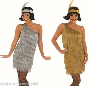 Ladies-Gold-Silver-1920s-Gatsby-Flapper-Fancy-Dress-Costume-Outfit-8-26-PlusSize