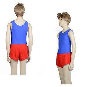Athletics Gym Running Boys Red Nylon Lycra Gymnastics Shorts Australian Made