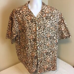 J-Crew-Mens-Hawaiian-Shirt-Short-Sleeve-Large-100-Cotton-Brown-Beige-Floral-FS