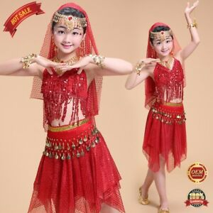 0b67f49be252 Children Belly Dance Outfit Perform Sequins Top Skirt Scarf Costume ...