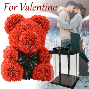 WR-Red-Rose-Bear-Flower-Teddy-15-034-In-Box-Gifts-For-Wedding-Birthday-Valentine