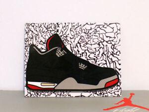 358a5887f87 Retro Air Jordan 4 IV Bred sneaker art fridge locker magnet | eBay