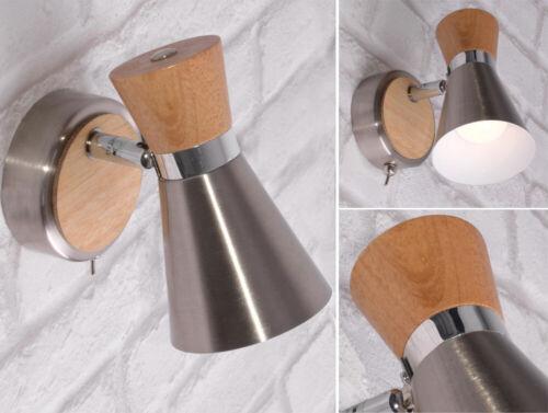Design Wand Leuchte Arbeits Zimmer Holz Spot Chrom Lese Strahler Lampe drehbar