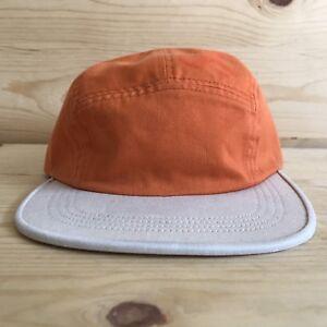 SUPREME 2-TONE TWILL SIDE LOGO ORANGE CAMP CAP FIVE PANEL HAT BOX ... 8bc543ff78d