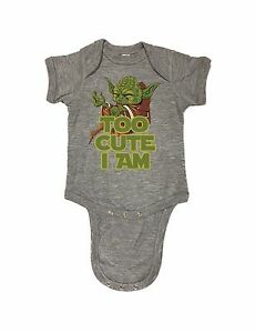 9e97bd57b 98-22 Yoda Too Cute I Am Star Wars Cute Funny Baby Romper Bodysuits ...