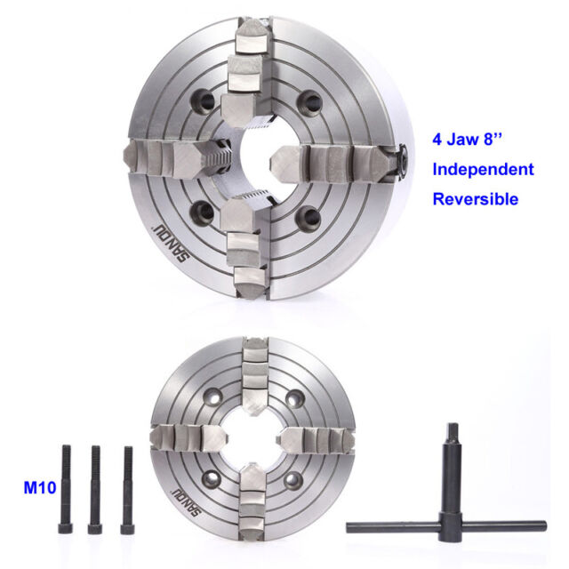 "8/"" Independent Reversible 4Jaw Lathe Chuck 200mm M10 Screw Hardened Steel CNC"