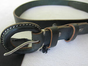 Paul-Smith-Skinny-Leather-buckle-belt-Green-34-034-Waist-Brand-New