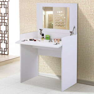 Details About Dressing Table W Flip Up Mirror And Storage Chic Dresser Makeup Vanity