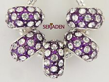 5 Purple w/ Clear Crystal Bead Fit European Style Jewelry 9 * 14 & 5mm Hole R075