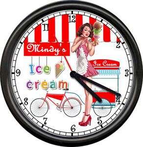 Details about Personalized Ice Cream Parlor Shop Retro Diner Dairy Your  Name Sign Wall Clock