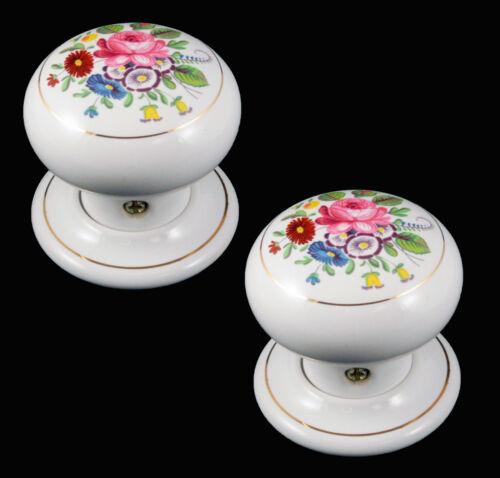 LA CHINE//en porcelaine à Mortaise Porte Bouton Blanc Avec Floral CHINTZ DESIGN 60 mm paire