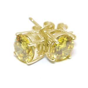 Diamond-Unique-Lemon-Sapphire-2ct-Solitaire-Solid-Gold-9ct-Stud-Earrings