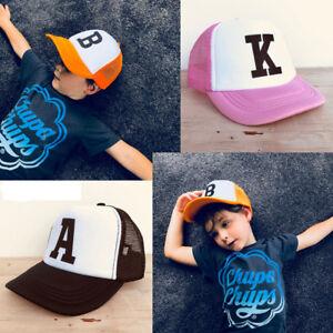 Adjustable-Boys-Girls-Kids-Hat-Mesh-Trucker-Hat-Personalised-Letter-Toddler-Caps