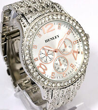 Henley Mens Mega Big Silver Tone & Rose Gold Detail Sparkly Crystal Bling Watch