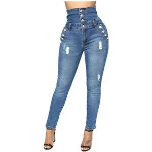 Pantalon Jeans De Moda Para Mujer Rasgados Cintura Alta Levanta Cola Vaquero Ebay