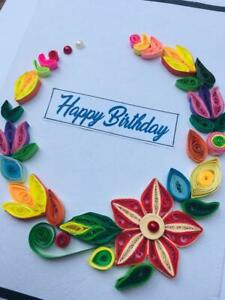 Birthday Card Handmade Quilling Greeting Cards Invitation With Envelope Ebay