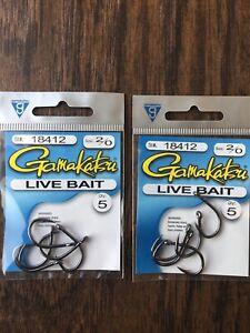 2 Packs Gamakatsu 18410 Size 1 Live Bait Fishing Hooks Total 12 Hooks