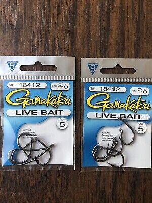 2 Packs Gamakatsu Size 4//0 Live Bait Fishing Hooks Total 8 Hooks