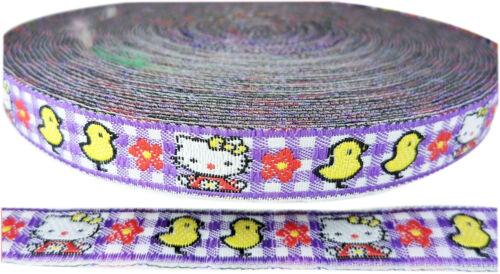 Hello Kitty fille vichy violet Tissé Ruban Tresse tissu à motif écossais broderie Bordure