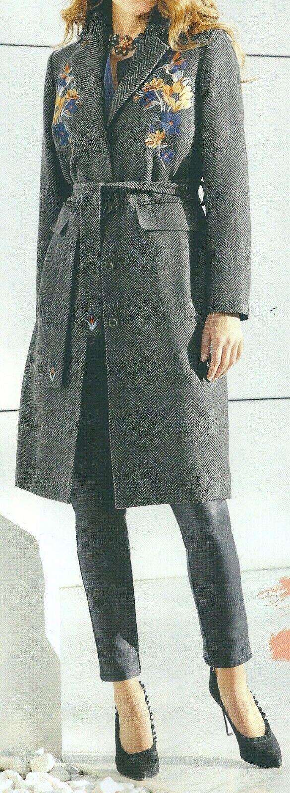 Wollmantel Damännermantel Übergangsmantel Mantel Wolle grau meliert Gr. 42