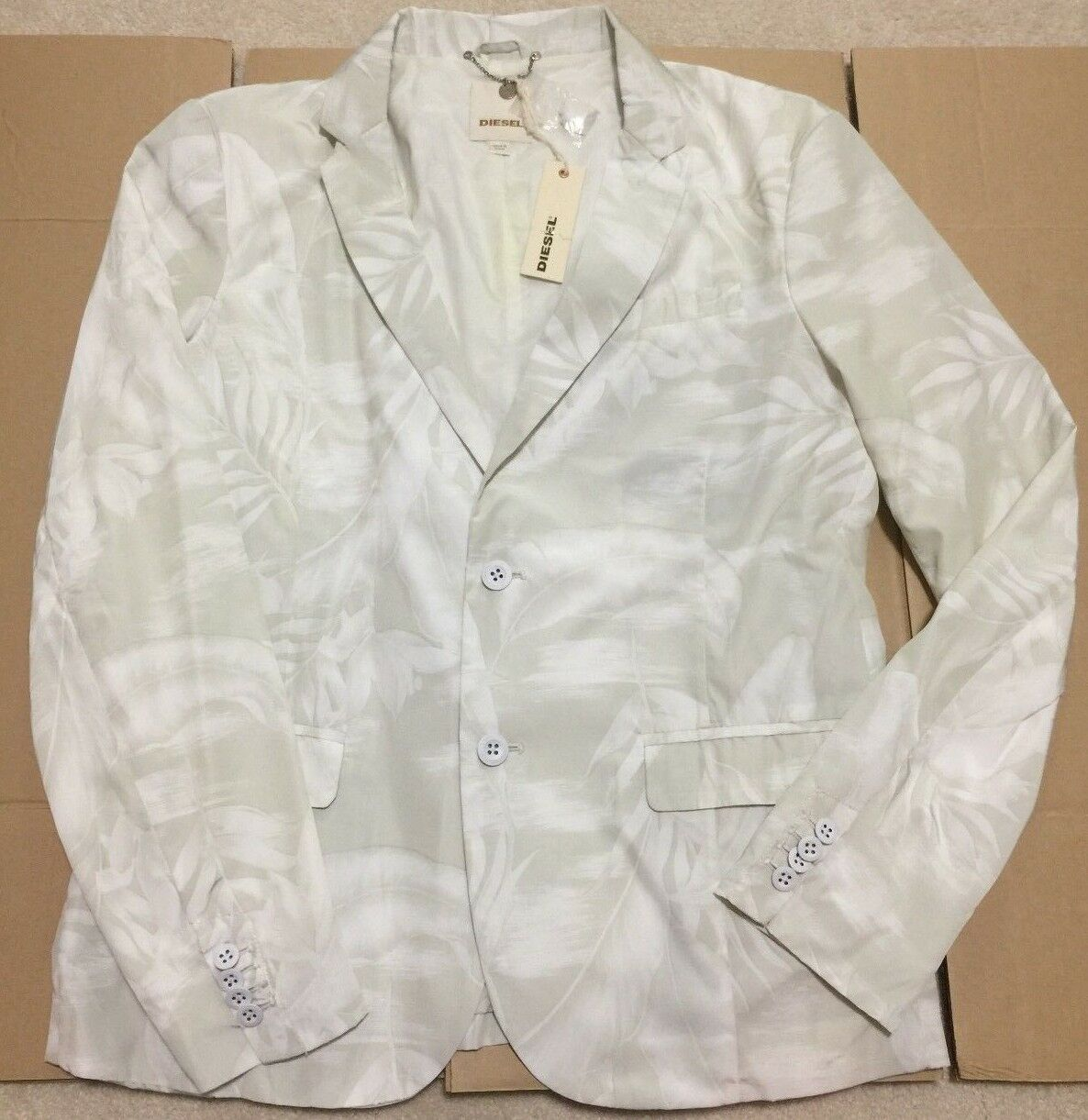 DIESEL SHINY PEARL WHITE WITH FLORAL DESIGN MEN'S BLAZER SIZE XL NEW WITH TAGS