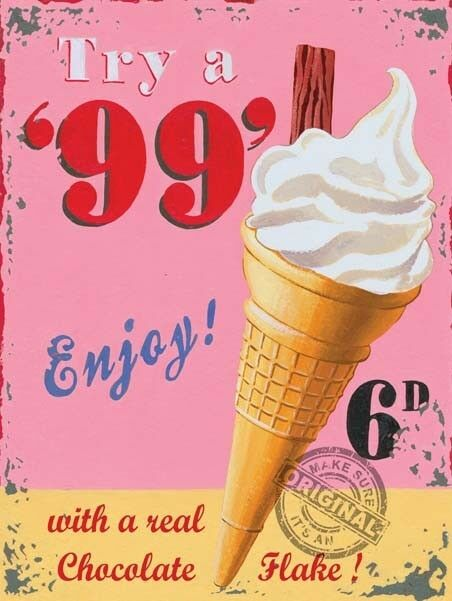 99 Ice Cream Cone, Vintage Shop Kitchen Cafe Food Old, Small Metal/Tin Sign