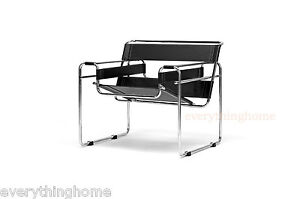 Black-Leather-Strap-and-Chrome-Bent-Steel-Tube-Accent-Lounge-Chair