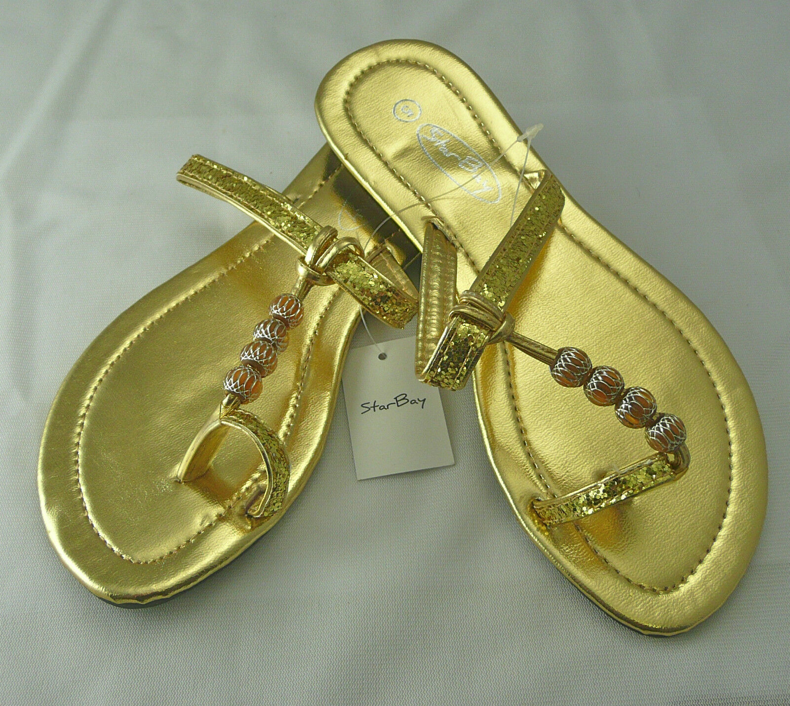 Sandal/Toe Ring,Flip Flop Gold by Star NEW Bay, Sz 6 only NEW Star 2528  Free Ship ba71a8