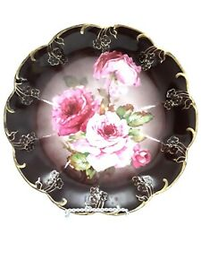 Antique-Carl-Tiesch-Porcelain-Platter-Pink-Flowers-Gold-Floral-amp-Trim-1875-1909