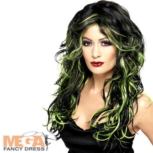 Gothic Bride Halloween Wig Green /& Black Witch Fancy Dress Ladies Costume Acc
