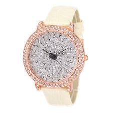 Alias Kim Crystal Face Round Shape White Leather Strap Lady Women's Quartz Watch