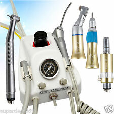 Dental Portable Turbine Unit + NSK Type High/Low Speed Handpieces 4 Hole w/ Gold