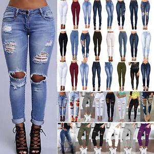 610d805cae7bab Das Bild wird geladen Damen-Jeans-Legging-Hosen-Ripped-Skinny-High-Waist-