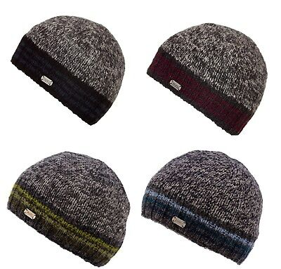 Kusan 100/% Wool Chunky Knit Turn Up Bobble Beanie Hat Choice of colours PK1728